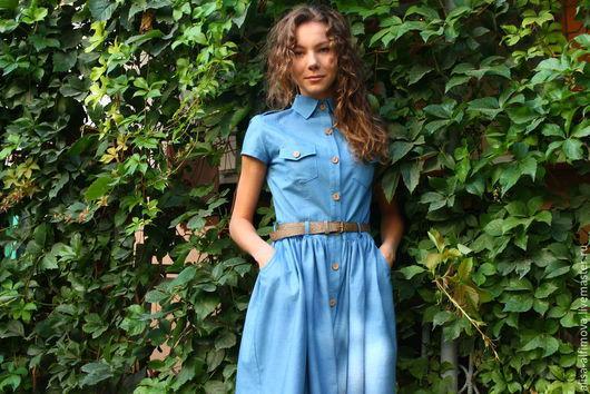 Платья ручной работы. Ярмарка Мастеров - ручная работа. Купить Платье джинсовое. Handmade. Голубой, модное платье, молодежный стиль