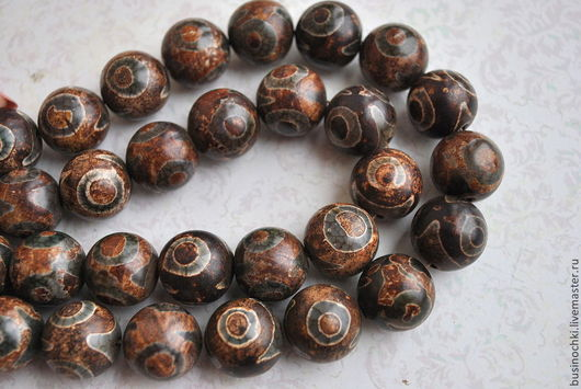 Для украшений ручной работы. Ярмарка Мастеров - ручная работа. Купить 18 мм. Агат Дзи тибетские бусины. Handmade.