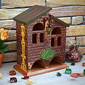 """Для дома и интерьера ручной работы. Ярмарка Мастеров - ручная работа Чайный домик """"Кирпичный-2"""", двойной чайный домик. Handmade."""