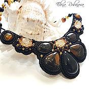 Колье ручной работы. Ярмарка Мастеров - ручная работа Колье с симбирцитом, обсидианом, кристаллами Swarovski. Handmade.