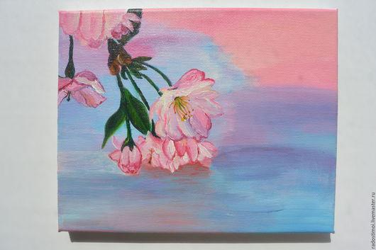 Картины цветов ручной работы. Ярмарка Мастеров - ручная работа. Купить Цветки сакуры. Handmade. Комбинированный, розовый, холст, сиреневый