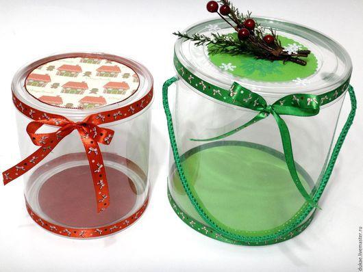 Подарочная упаковка ручной работы. Ярмарка Мастеров - ручная работа. Купить Круглая прозрачная коробка. Handmade. Разноцветный, прозрачные коробки