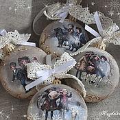 """Подарки к праздникам ручной работы. Ярмарка Мастеров - ручная работа 4 новогодних шарика """"Ретро Новый год"""". Handmade."""