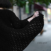 Одежда handmade. Livemaster - original item Women`s Long Black Openwork Cardigan. Handmade.