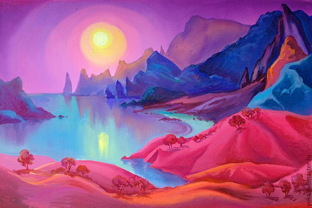 """Пейзаж ручной работы. Ярмарка Мастеров - ручная работа. Купить """"Ночь в заливе Вайолетт"""" картина маслом. Handmade. Море, фиолетовый"""