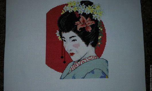 """Вышивка ручной работы. Ярмарка Мастеров - ручная работа. Купить вышитая картина """"Японская красавица"""". Handmade. Комбинированный, японские мотивы"""