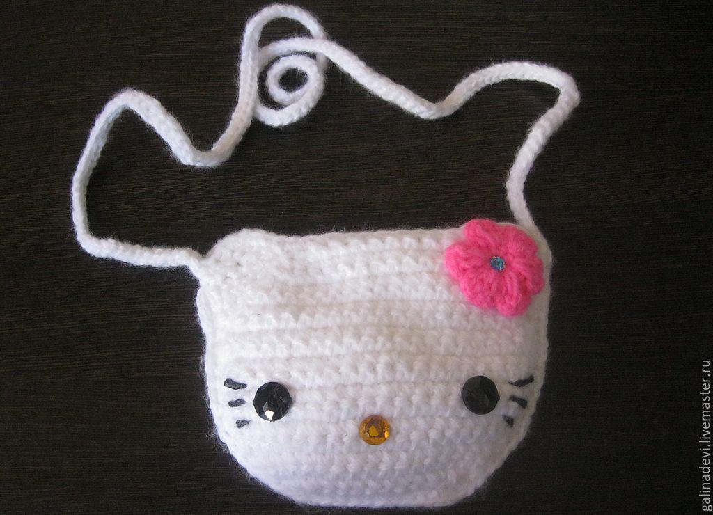 Детские аксессуары ручной работы. Ярмарка Мастеров - ручная работа. Купить СУМКА  ДЛЯ ДЕВОЧКИ Hello Kitty вязаная. Handmade.