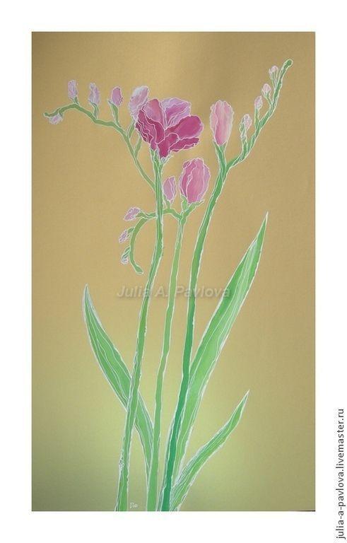 """Картины цветов ручной работы. Ярмарка Мастеров - ручная работа. Купить Живопись """"Три грации"""" подарок женщине картина для интерьера горчичный. Handmade."""