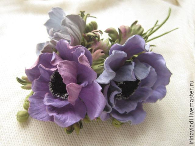 Сиреневые цветы из кожи