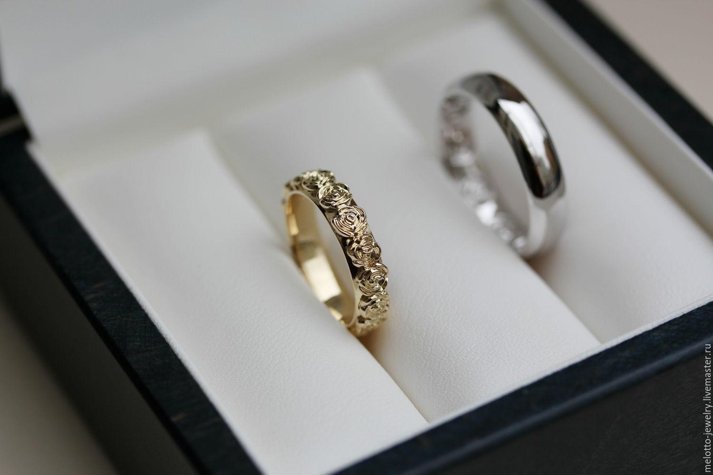 01413f551e46 ... жёлтого и белого золота. Свадебные украшения ручной работы. Ярмарка  Мастеров - ручная работа. Купить Обручальные кольца Роза из