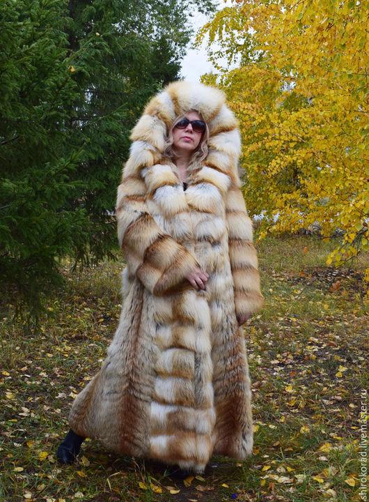 Верхняя одежда ручной работы. Ярмарка Мастеров - ручная работа. Купить Шуба из меха  рыжей лисы.Длинная, с капюшоном.. Handmade.