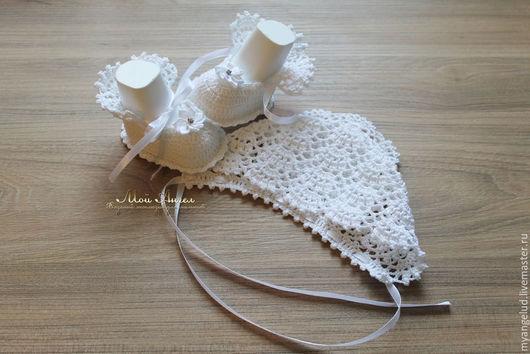 """Для новорожденных, ручной работы. Ярмарка Мастеров - ручная работа. Купить Ажурный комплект для новорожденного  """"Мой ангел"""". Handmade. Белый"""
