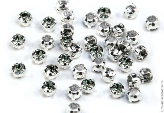 Для украшений ручной работы. Ярмарка Мастеров - ручная работа. Купить Chaton Montees 4mm Black Diamond в оправе пришивные Сваровски 15 шт. Handmade.