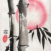 """Картины и панно ручной работы. Ярмарка Мастеров - ручная работа Картина в технике суми-э """"Бамбук"""". Handmade."""
