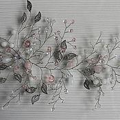 """Украшения ручной работы. Ярмарка Мастеров - ручная работа Украшение для волос""""Бело-розовая веточка"""". Handmade."""