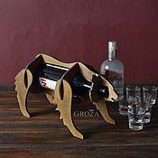 Бутылки ручной работы. Ярмарка Мастеров - ручная работа Подставка для бутылки Медведь.. Handmade.