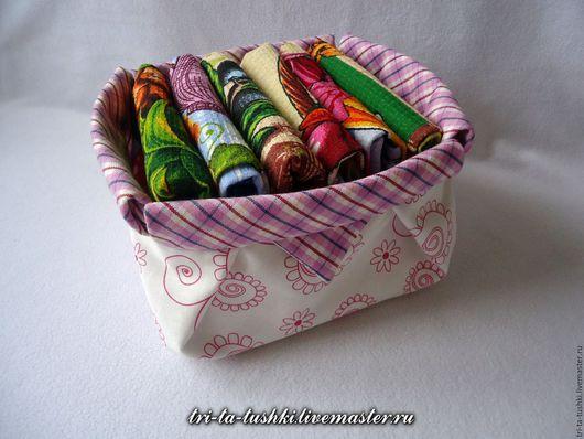 """Кухня ручной работы. Ярмарка Мастеров - ручная работа. Купить Комплект кухонных полотенец  """"Неделька"""" в текстильной корзиночке. Handmade."""