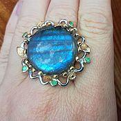 handmade. Livemaster - original item Creation of nature ring with Labrador and emeralds. Handmade.