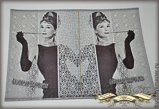 """Обложки ручной работы. Ярмарка Мастеров - ручная работа. Купить Паспортная обложка """"Одри"""". Handmade. Серый, паспортная обложка, Одри"""