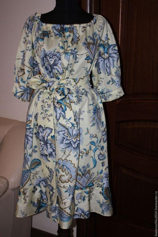 """Платья ручной работы. Ярмарка Мастеров - ручная работа. Купить Платье """"Жустин с воланом"""". Handmade. Бежевый, платье в подарок"""