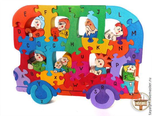 Развивающие игрушки ручной работы. Ярмарка Мастеров - ручная работа. Купить Двухэтажный автобус деревянный паззл русский или английский алфавит. Handmade.