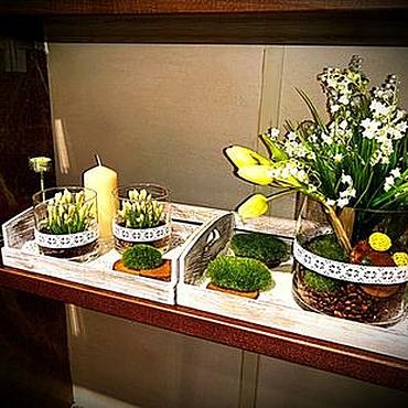 Дизайн и реклама ручной работы. Ярмарка Мастеров - ручная работа Декор полок  шкафа Цветы , стекло и сухоцветы Весенняя мелодия. Handmade.