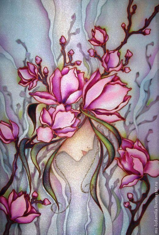 Цветы картины батик