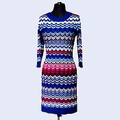 Одежда ручной работы. Ярмарка Мастеров - ручная работа Платье Миссони синее с малиной. Handmade.