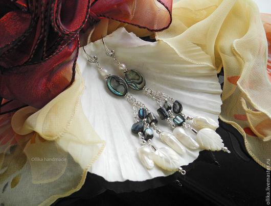 Фото серьги Gerda - Перламутр, Жемчуг, Гелиотис, под Серебро серьги с перламутром, оригинальный подарок, подарок на день рождения, серьги с жемчугом, купить серьги, фото серьги, оригинальная бижутерия, серьги колье фото, подарок девушке женщине, подарок любимой подруге, для девушки для женщины, длинные крупные серьги, белые серебряные, серьги жемчужные, жемчужные сережки, серьги с белым жемчугом, сережки длинные, перламутровые серьги, серьги с гелиотисом, жемчуг натуральный, ollika Ольга Дмитриева, Ярмарка Мастеров, Авторская бижутерия