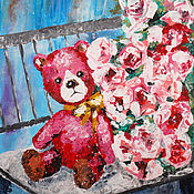 Картины и панно ручной работы. Ярмарка Мастеров - ручная работа Розовый мишка. Картина акрилом. Handmade.