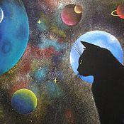 Картины и панно ручной работы. Ярмарка Мастеров - ручная работа Кошачья вселенная. Handmade.