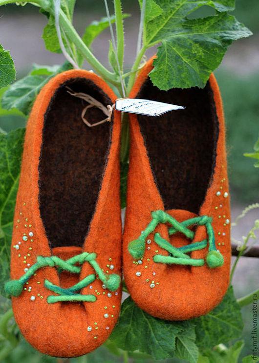 """Обувь ручной работы. Ярмарка Мастеров - ручная работа. Купить валяные тапочки """" Тру-ля-ля"""". Handmade. Рыжий"""