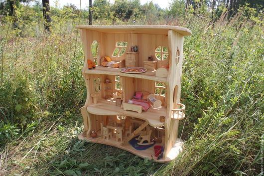Кукольный дом ручной работы. Ярмарка Мастеров - ручная работа. Купить Трехэтажный  кукольный домик. Handmade. Бежевый, деревянный домик