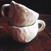 Посуда ручной работы. Ярмарка Мастеров - ручная работа Белые кружки. Handmade.