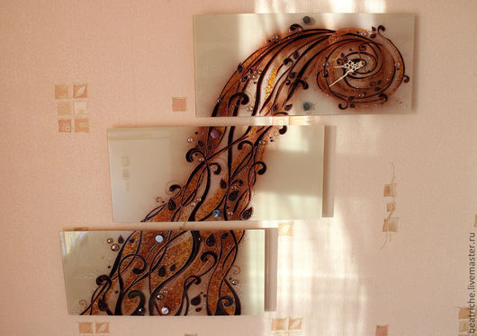 """Часы для дома ручной работы. Ярмарка Мастеров - ручная работа. Купить Часы -триптих """"Оранжевое настроение"""". Handmade. Часы"""