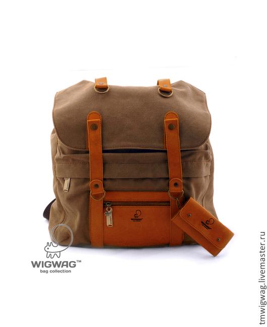 Рюкзаки ручной работы. Ярмарка Мастеров - ручная работа. Купить Вместительный рюкзак, материал -  канвас и натуральная кожа. Handmade. Коричневый