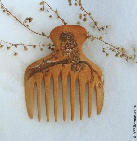 """Гребни, расчески ручной работы. Ярмарка Мастеров - ручная работа. Купить Гребень для волос  деревянный """"Сова"""". Handmade. Гребень"""