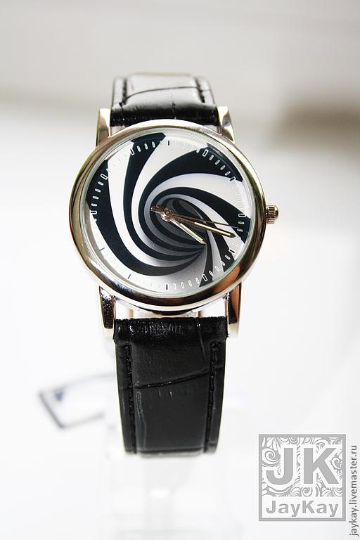 Часы ручной работы. Ярмарка Мастеров - ручная работа. Купить Часы наручные JK. Handmade. Чёрно-белый, наручные часы