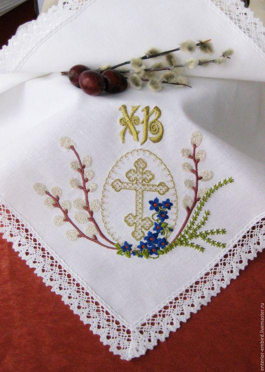 """Подарки на Пасху ручной работы. Ярмарка Мастеров - ручная работа. Купить Пасхальная салфетка  """"Верба и крест""""   льняная. Handmade. Белый"""