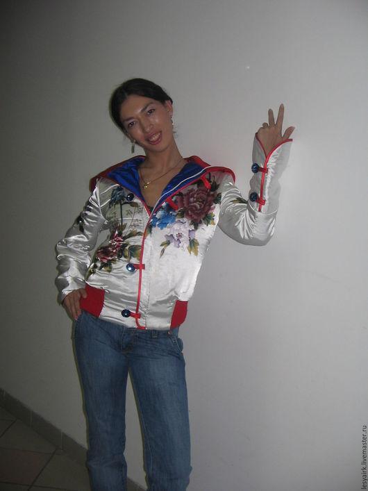 Верхняя одежда ручной работы. Ярмарка Мастеров - ручная работа. Купить Куртка. Handmade. Комбинированный, смелый, необычный, атлас набивной