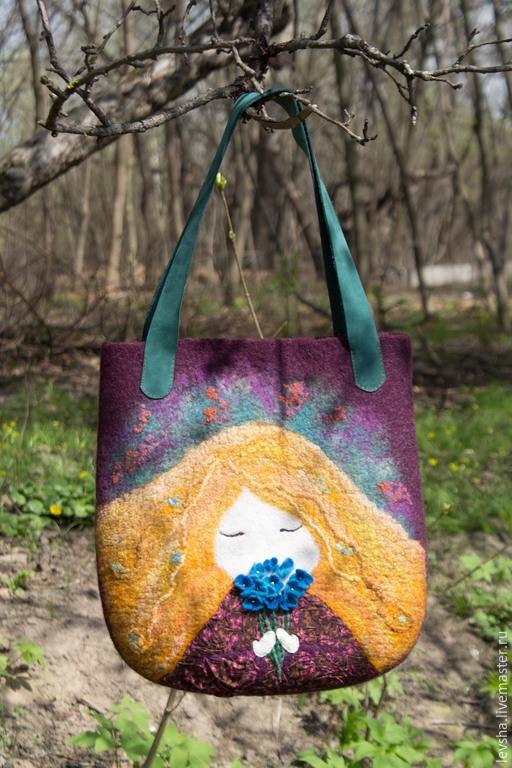 Bag women's felt bag fashion shoulder bag handmade beautiful bag in a gift for mom gift wife easy felted bag copyright bag design decor spring fashion spring 2018 spring