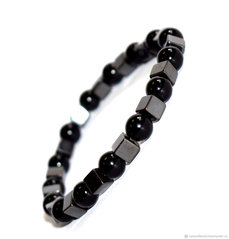Men's bracelet made of hematite stone and black onyx, Bead bracelet, Moscow,  Фото №1