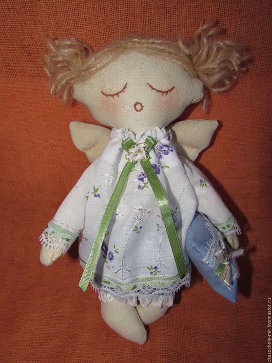 Ангел-Сплюшка девочка (хранитель снов) 22см, ручная работа. Подушечка в ручках волшебная, каждый, кто засыпает рядом с Ангелом, видит только хорошие и волшебные сны!