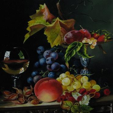 """Картины и панно ручной работы. Ярмарка Мастеров - ручная работа """"Натюрморт с бокалом  вина"""".. Handmade."""