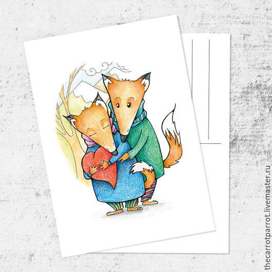 Открытки на все случаи жизни ручной работы. Ярмарка Мастеров - ручная работа. Купить Почтовая открытка «Влюбленные лисы». Handmade. Оранжевый