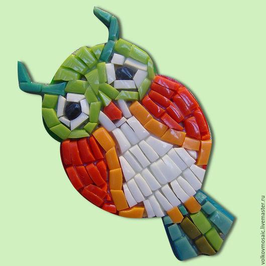 Магниты ручной работы. Ярмарка Мастеров - ручная работа. Купить смальта-пазл «Магнит мозаика Мудрый Филин». Handmade. Рыжий