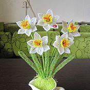 Цветы и флористика ручной работы. Ярмарка Мастеров - ручная работа Нарциссы из бисера. Handmade.