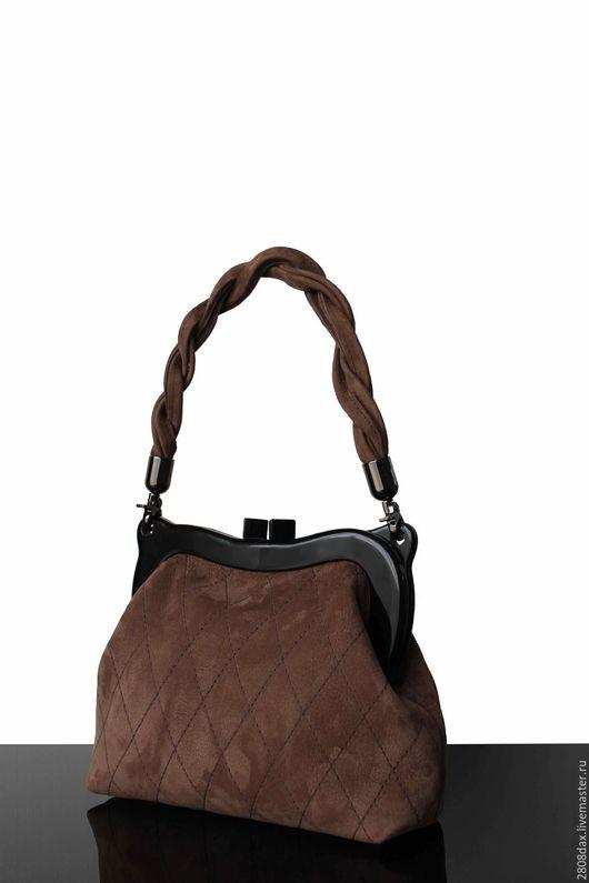 Женские сумки ручной работы. Ярмарка Мастеров - ручная работа. Купить Замшевая сумочка, коричневый,сумочка на фермуаре, сумочка из замши. Handmade.