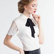 Одежда ручной работы. Ярмарка Мастеров - ручная работа блузка с черным бантом. Handmade.