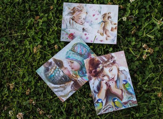 Открытки на все случаи жизни ручной работы. Ярмарка Мастеров - ручная работа. Купить Набор открыток: Маленькие персонажи. Handmade. Открытки